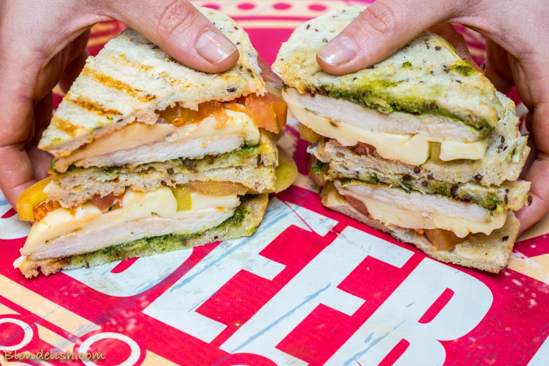 BLT Sandwich with chicken, pesto and mozzarella