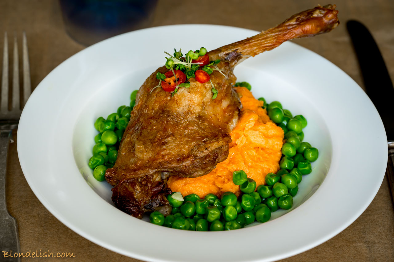 Duck With Sweet Potato Puree And Garlicky Peas Blondelish