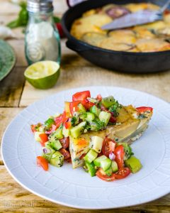 Spanish tortilla with kiwi and chili salsa