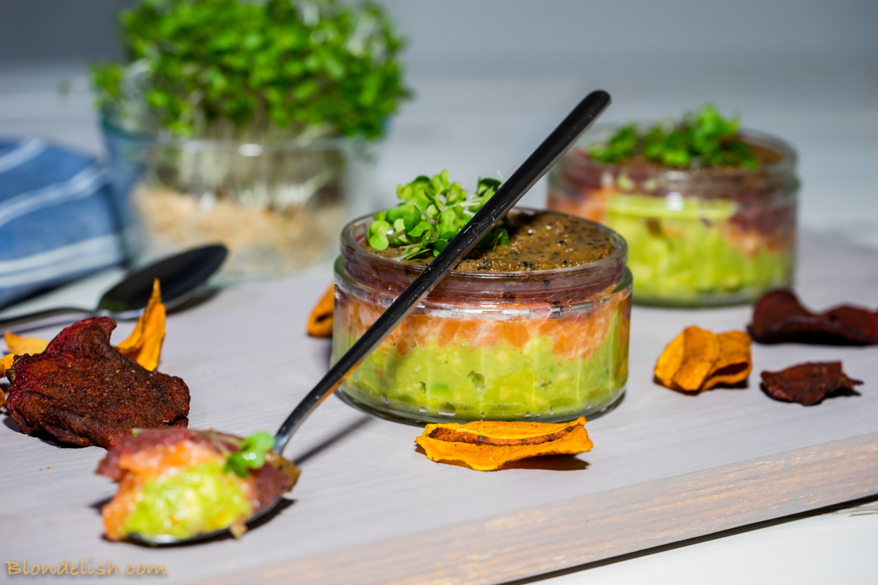 Salmon and tuna tartare with avocado puree and truffles; Recipes, Travel, Lifestyle by Blondelish