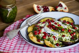 Aubergine with yoghurt and pesto, Recipes, Travel, Lifestyle by Blondelish