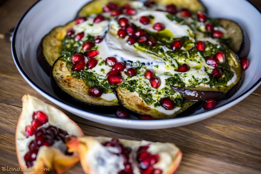 Aubergine with yoghurt and pesto, Recipes, Travel, Lifestyle by Blondelish