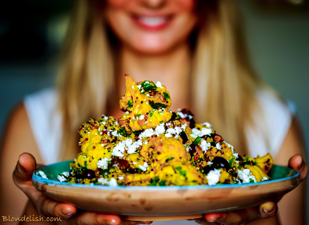 Roasted turmeric cauliflower & quinoa salad recipe