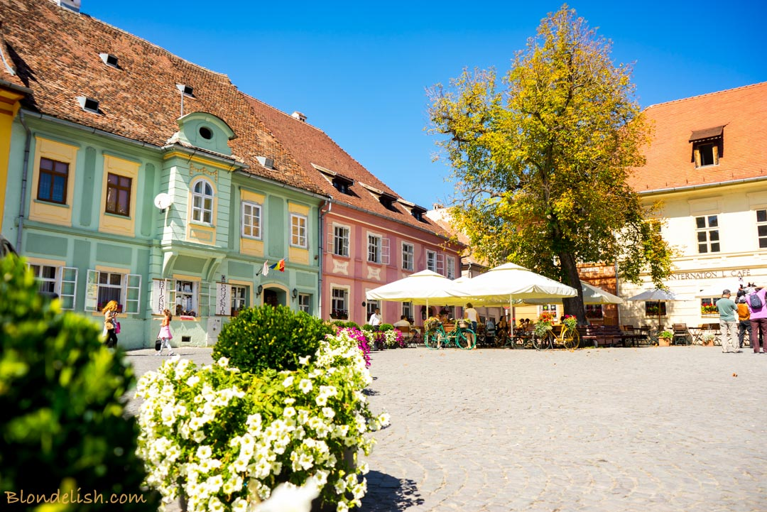 The main square of Sighisoara, in Transylvania, Romania