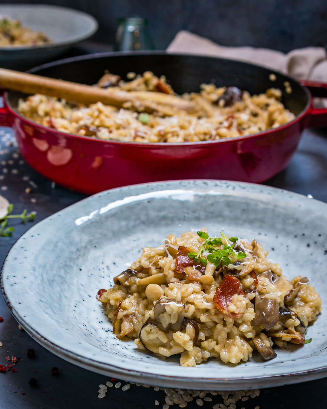 Creamy Bacon And Mushroom Risotto (Recipe Video)-12