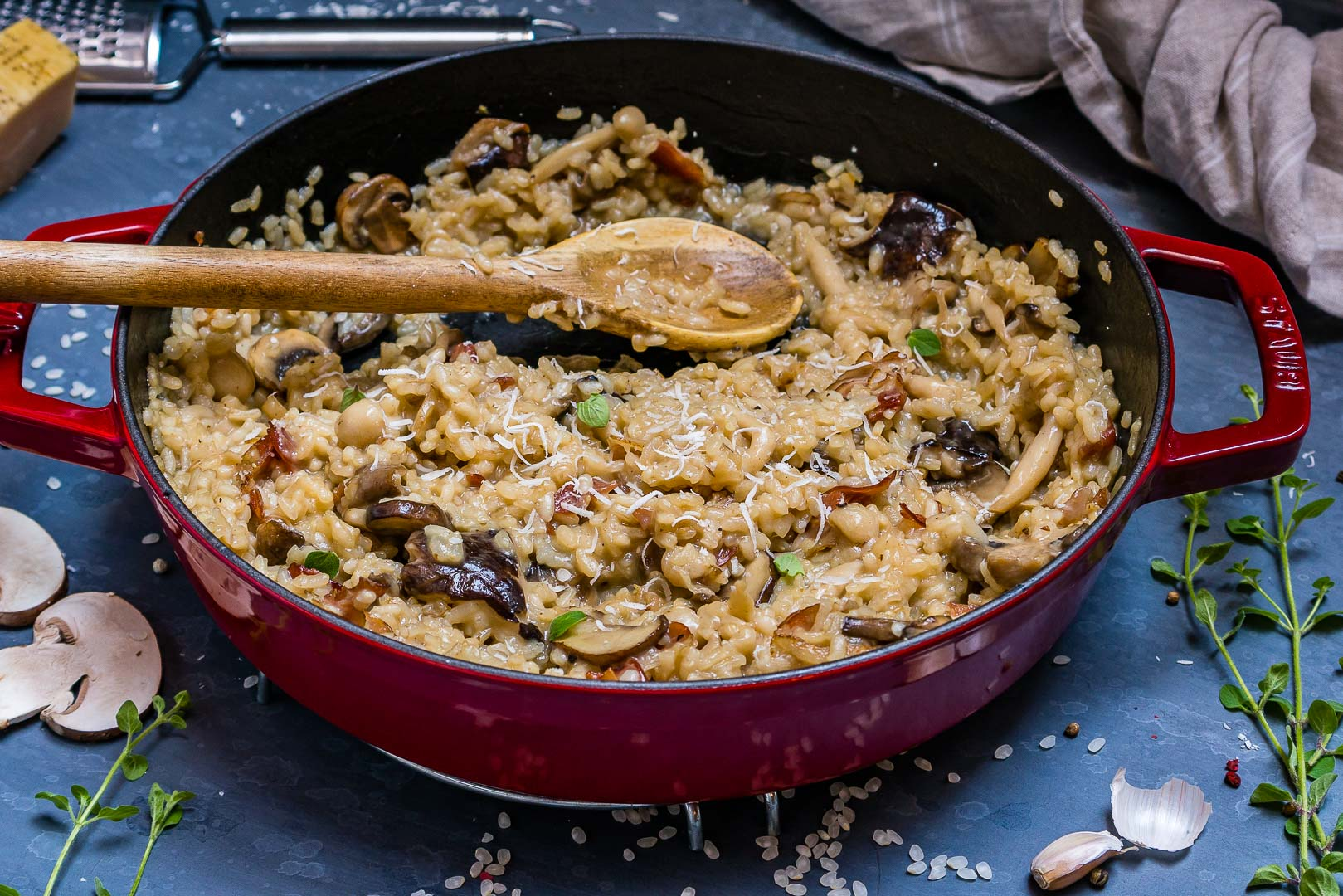 Creamy Bacon And Mushroom Risotto (Recipe Video)-13