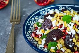 Roasted beetroot salad with feta and couscous