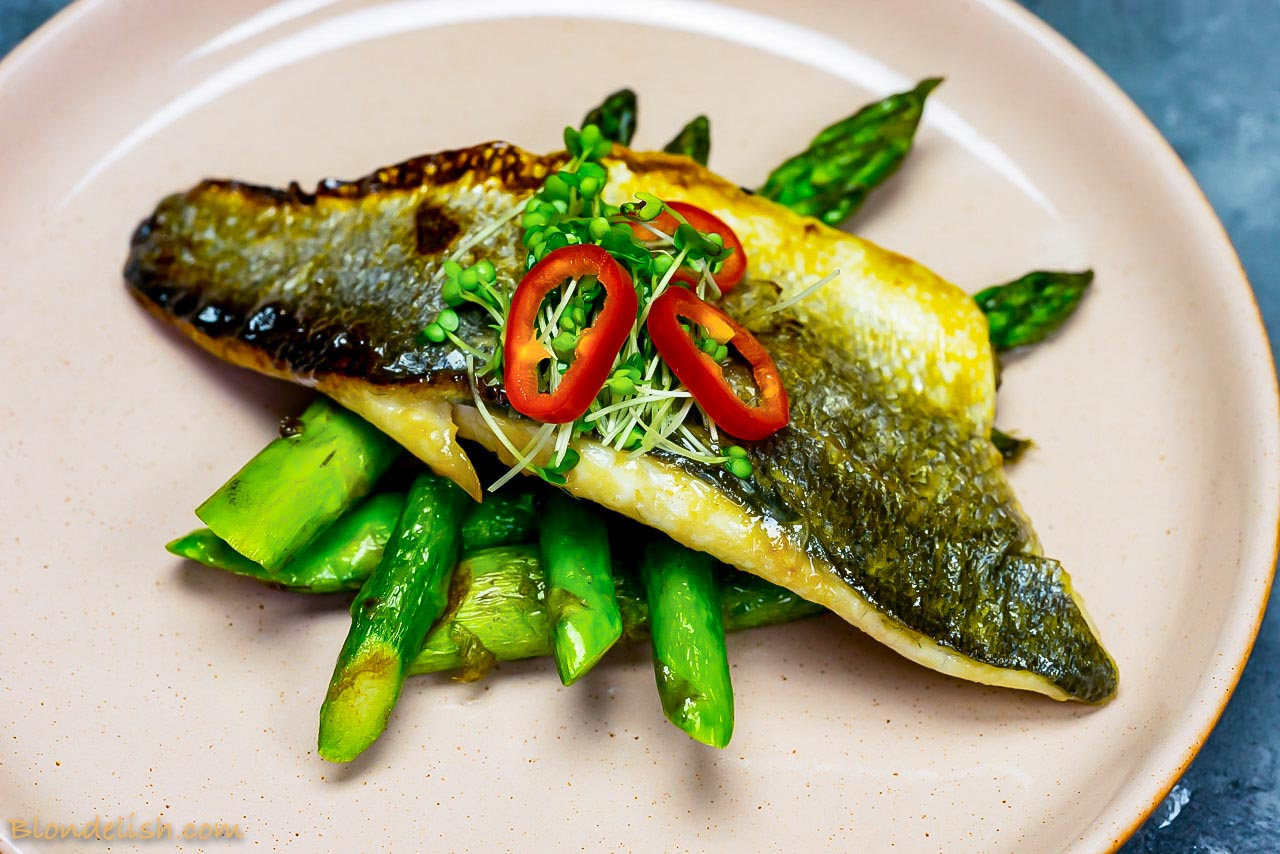 Japanese marinated sea bass with asparagus and chilli - Japanese Recipes