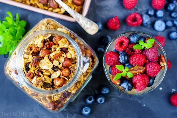 Healthy Homemade Granola recipe with chocolate and dried berries