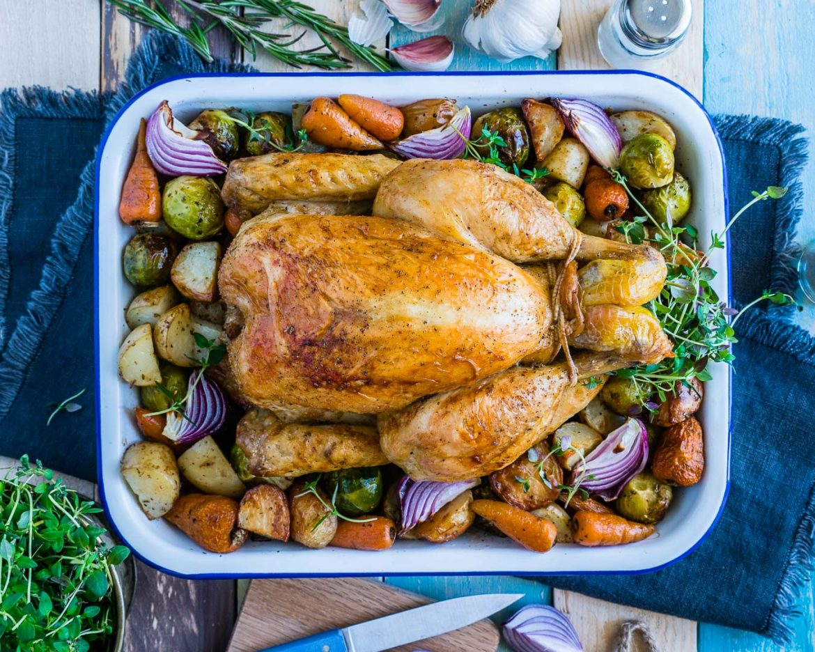 Easy Dessert Recipes Whole Roasted Chicken And Veggies Recipe 3 Blondelish