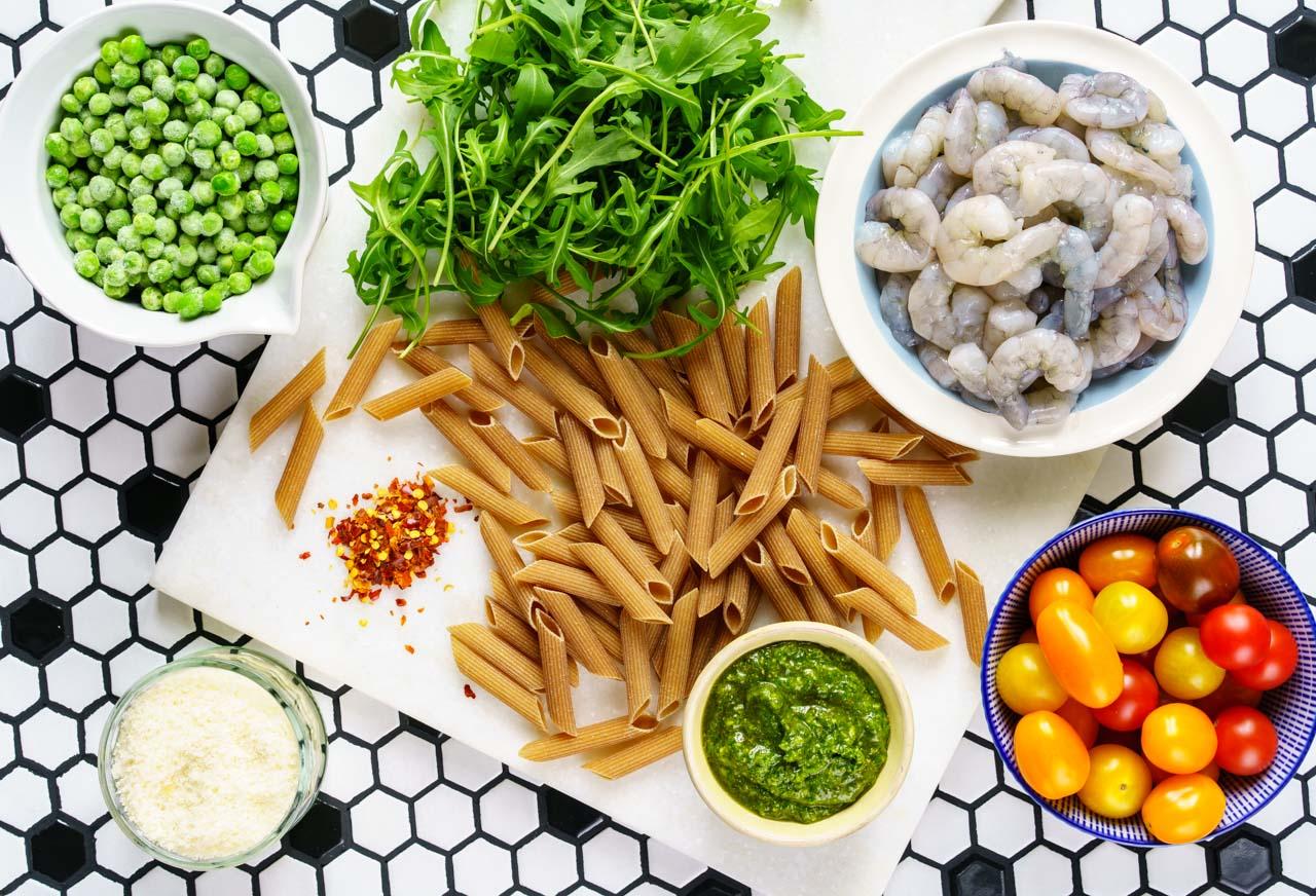 Shrimp Pasta Recipe, with pesto and cherry tomatoes - Healthy & Tasty Recipes 5