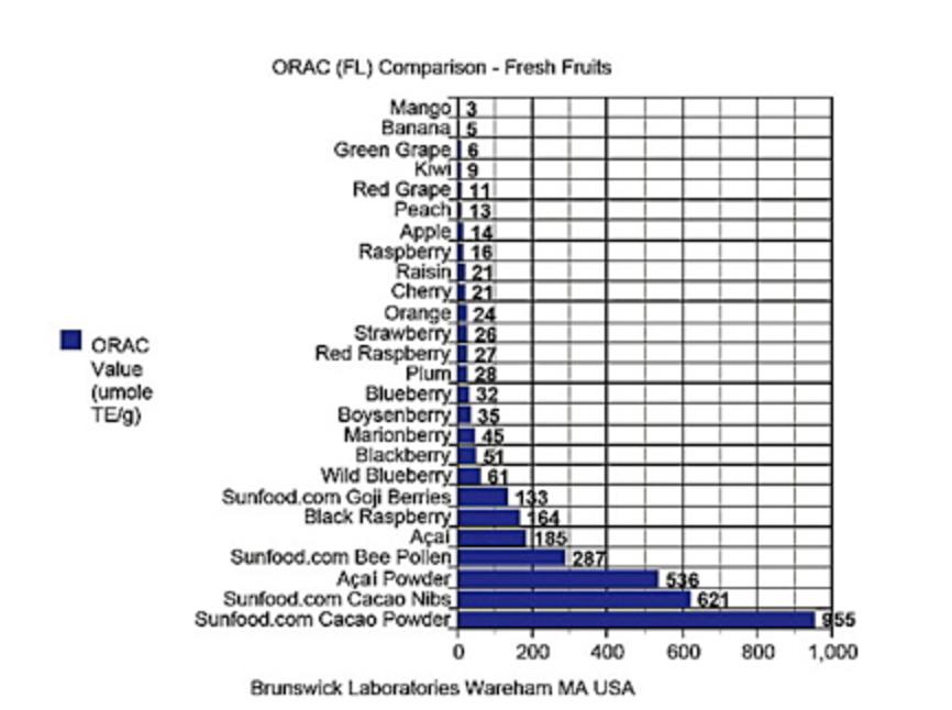 Raw cocoa antioxidants chart