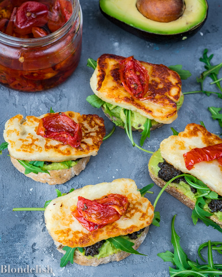 Avocado Toast with Halloumi Cheese and Olive Paste - Best Avocado Toast Recipes