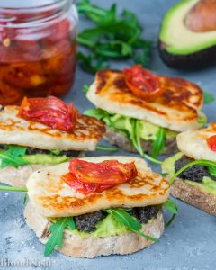 Avocado Toast with Halloumi Cheese and Olive Paste. Best Avocado Toast Recipes