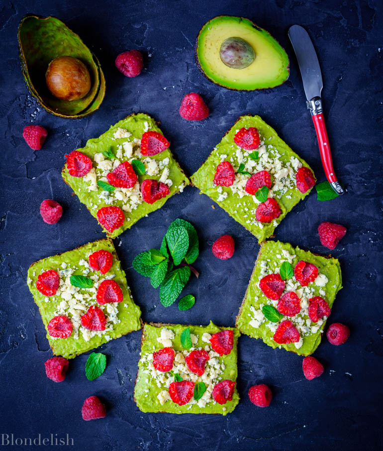 Raspberry and Blue Cheese Avocado Toast Recipe - Best Avocado Toast Recipes