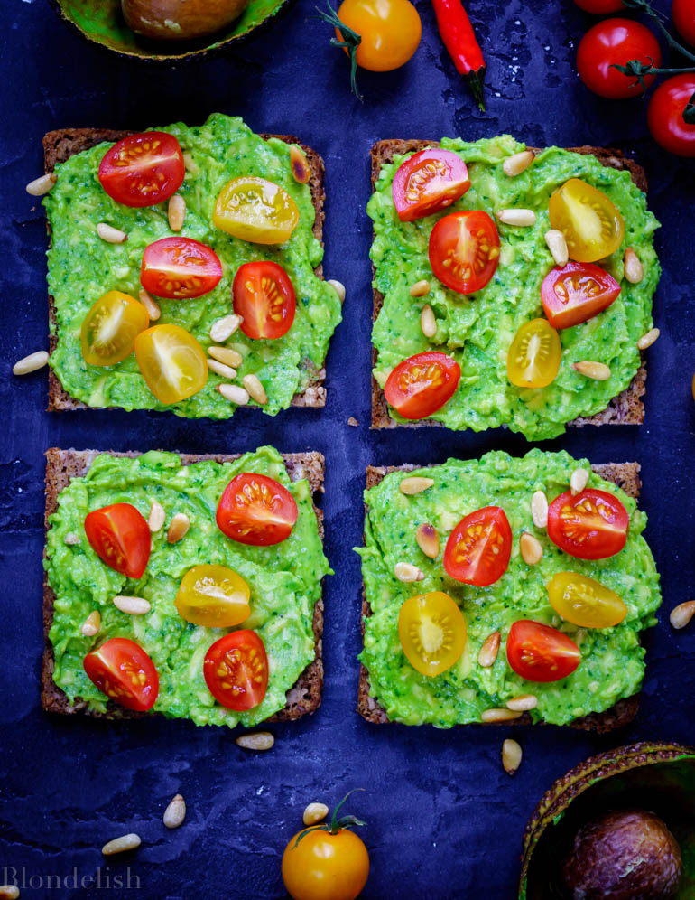Cherry Tomatoes and Pinenuts Avocado Toast Recipe - Best Avocado Toast Recipes