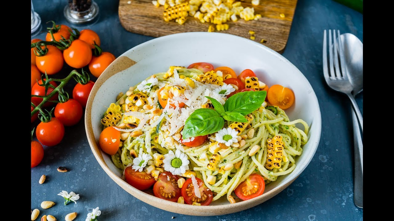 Zucchini Noodles Pasta Recipe with Pesto and Grilled Corn ...