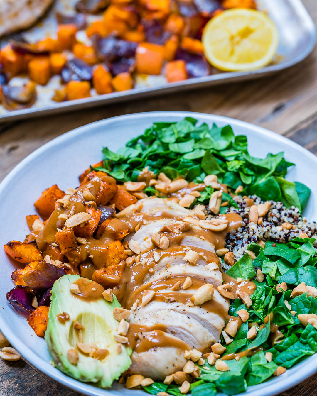 Healthy chicken salad recipe with quinoa and roasted veggies-11