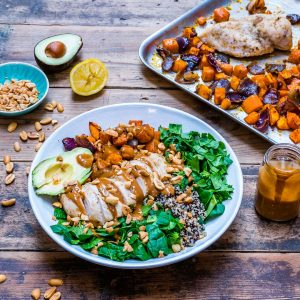 Healthy chicken salad recipe with quinoa and roasted veggies-2