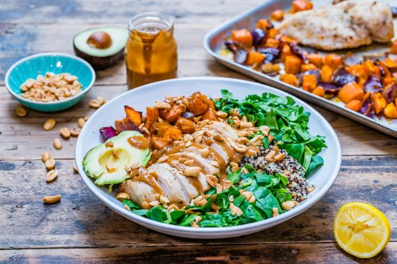 Healthy chicken salad recipe with quinoa and roasted veggies-8
