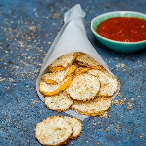 Baked Zucchini Chips With Shredded Coconut (Low Carb and Vegan)-5