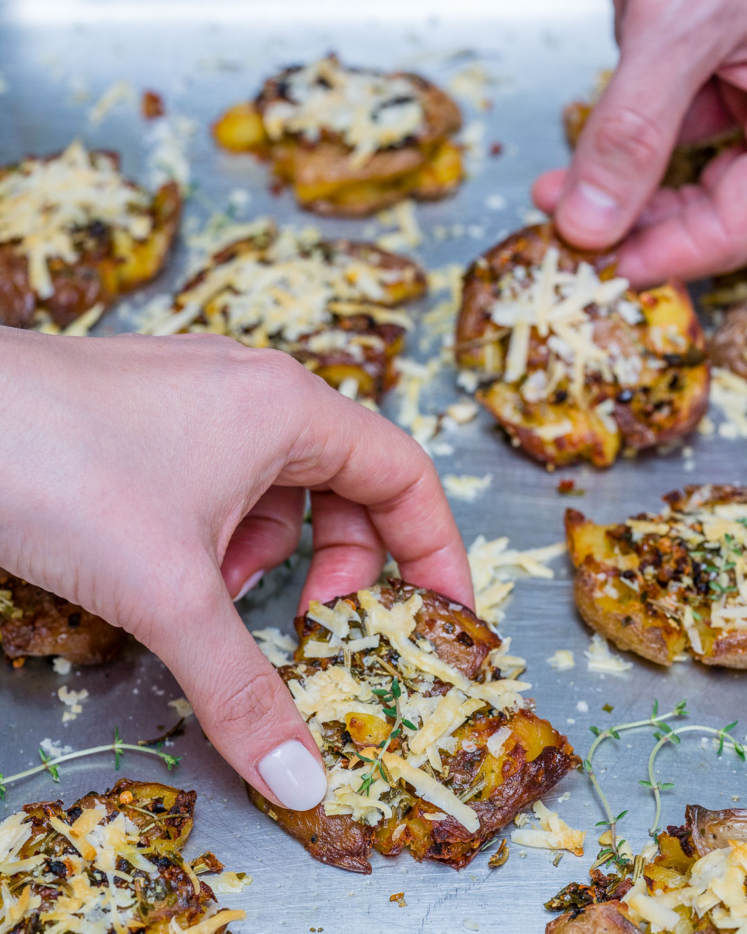Roasted Smashed Potatoes With Garlic And Parmesan - Recipe Video-15