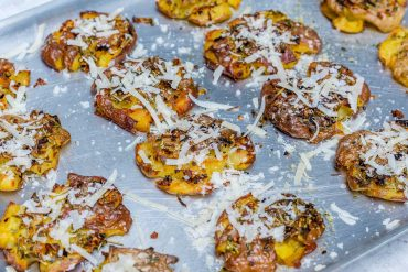 Roasted Smashed Potatoes With Garlic And Parmesan - Recipe Video-4
