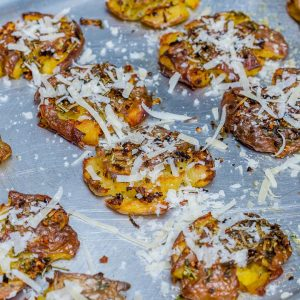 Roasted Smashed Potatoes With Garlic And Parmesan - Recipe Video-5