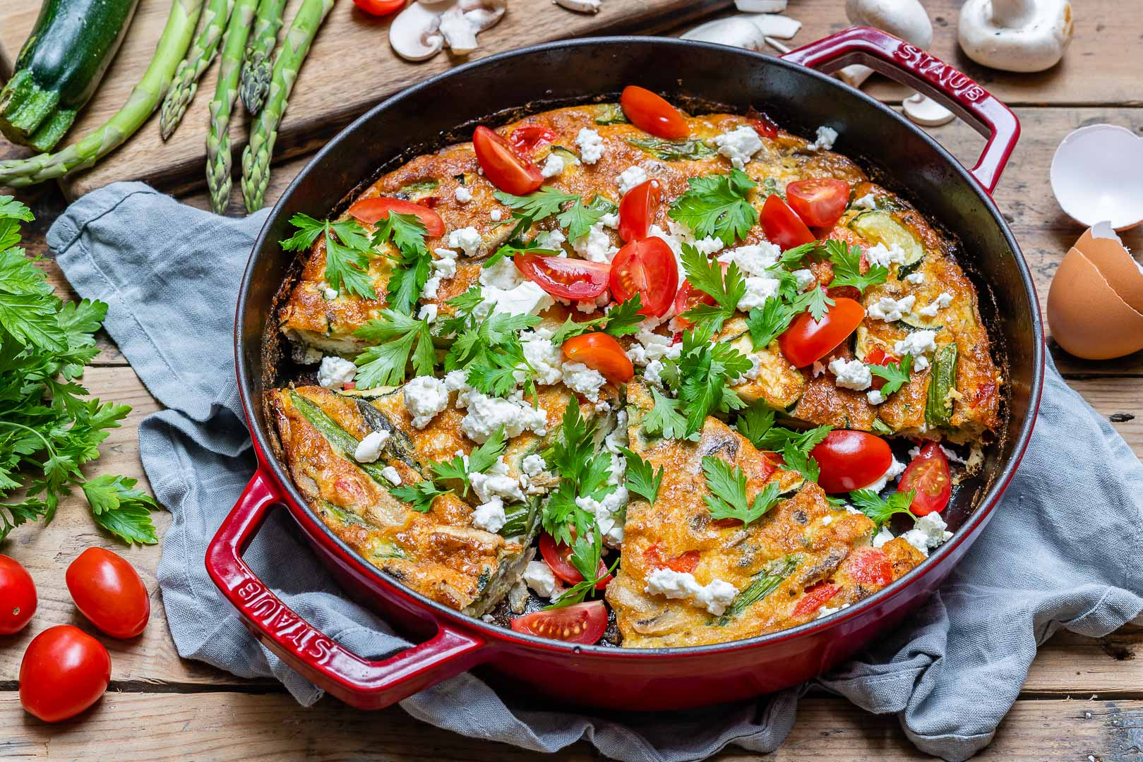 Easy Vegetable Frittata Recipe (With Eggs And Asparagus)-5