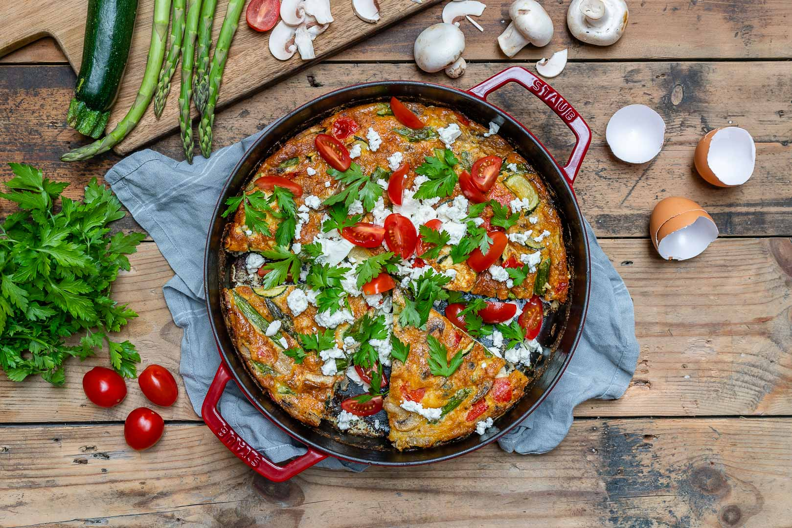 Easy Vegetable Frittata Recipe (With Eggs And Asparagus)