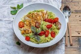 Healthy & Easy Chicken Pesto Pasta With Tomatoes Recipe-7