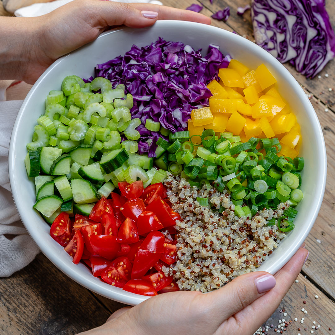 Vegan Chopped Salad With Quinoa Recipe Video Blondelish Com