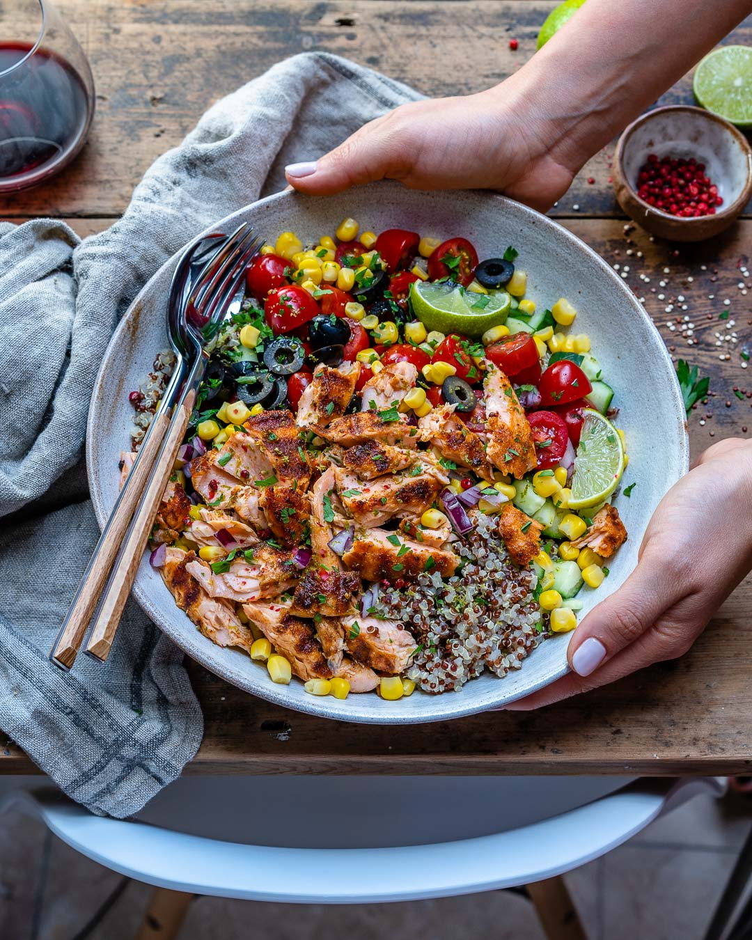 Healthy Grilled Salmon Bowl With Vegetables and Quinoa-10