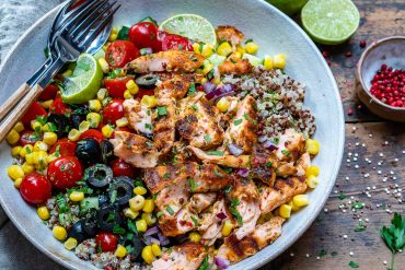 Healthy Grilled Salmon Bowl With Vegetables and Quinoa-11