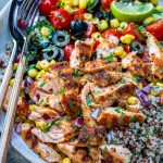 Healthy Grilled Salmon Bowl With Vegetables and Quinoa-13