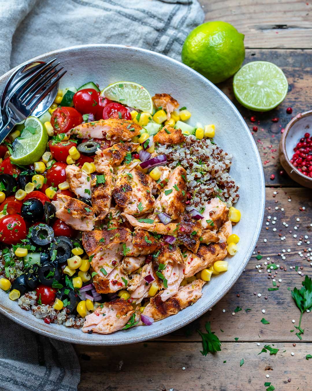 Healthy Grilled Salmon Bowl With Vegetables and Quinoa-9