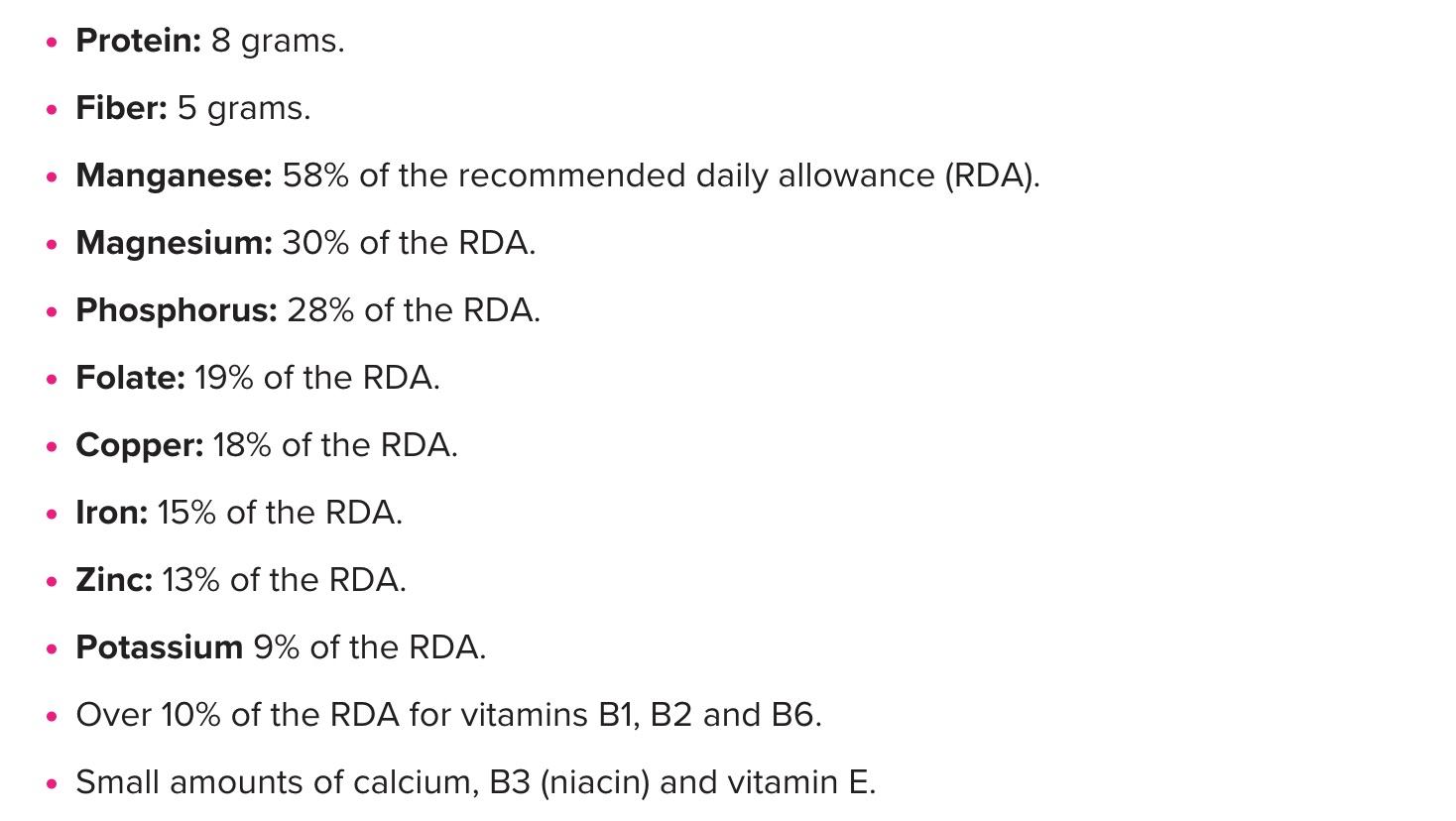 Quinoa Nutrient Content