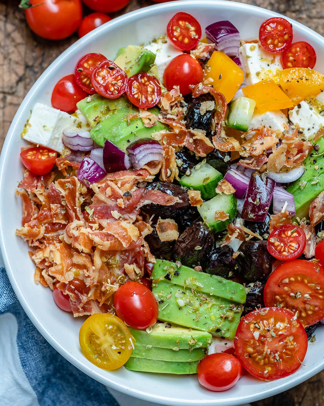 Bacon Avocado Greek Salad - Keto Recipe-2