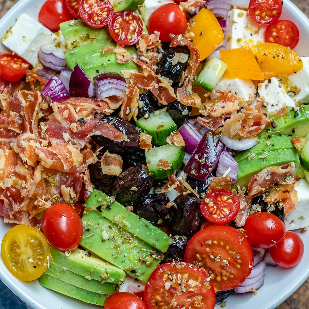 Bacon Avocado Greek Salad - Keto Recipe-3