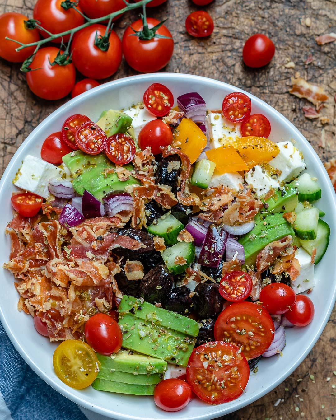 Bacon Avocado Greek Salad - Keto Recipe-4