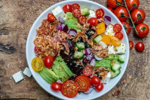 Bacon Avocado Greek Salad - Keto Recipe-7