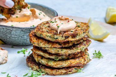 Cheesy Zucchini Fritters With Spicy Ranch Dip (Keto Recipe)-17