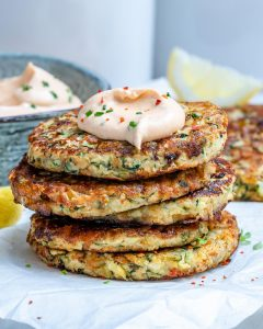 Cheesy Zucchini Fritters With Spicy Ranch Dip (Keto Recipe)-9