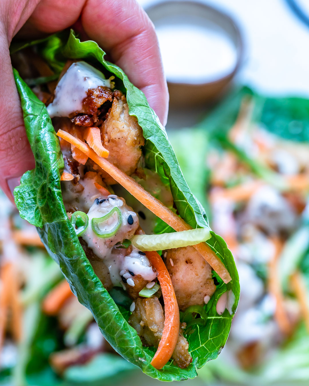 Healthy Chicken Lettuce Wraps With Tahini Sauce (Paleo/Whole30) 7