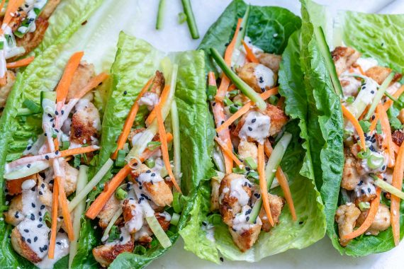Healthy Chicken Lettuce Wraps With Tahini Sauce (Paleo/Whole30) 6