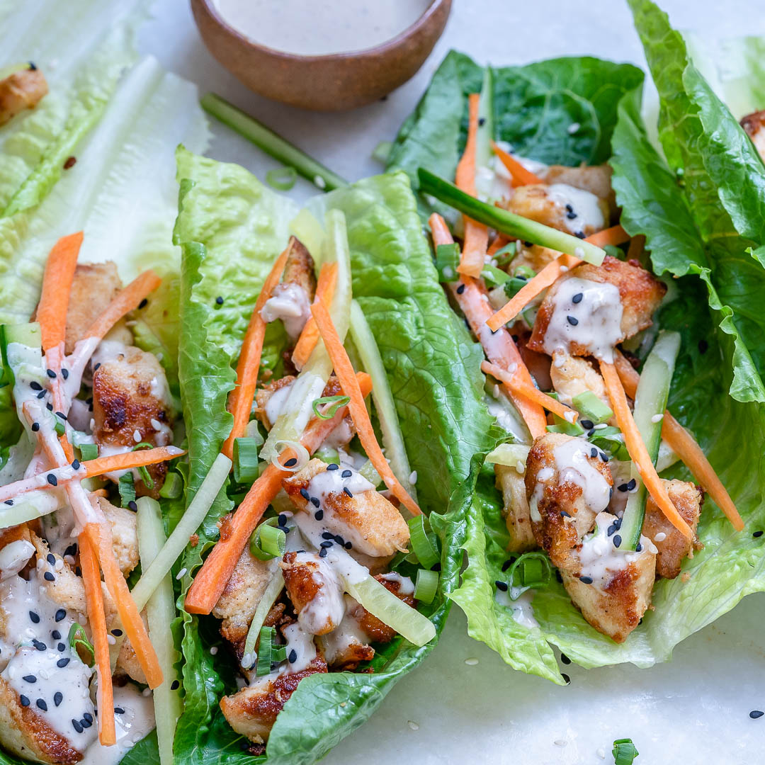Healthy Chicken Lettuce Wraps With Tahini Sauce (Paleo/Whole30)