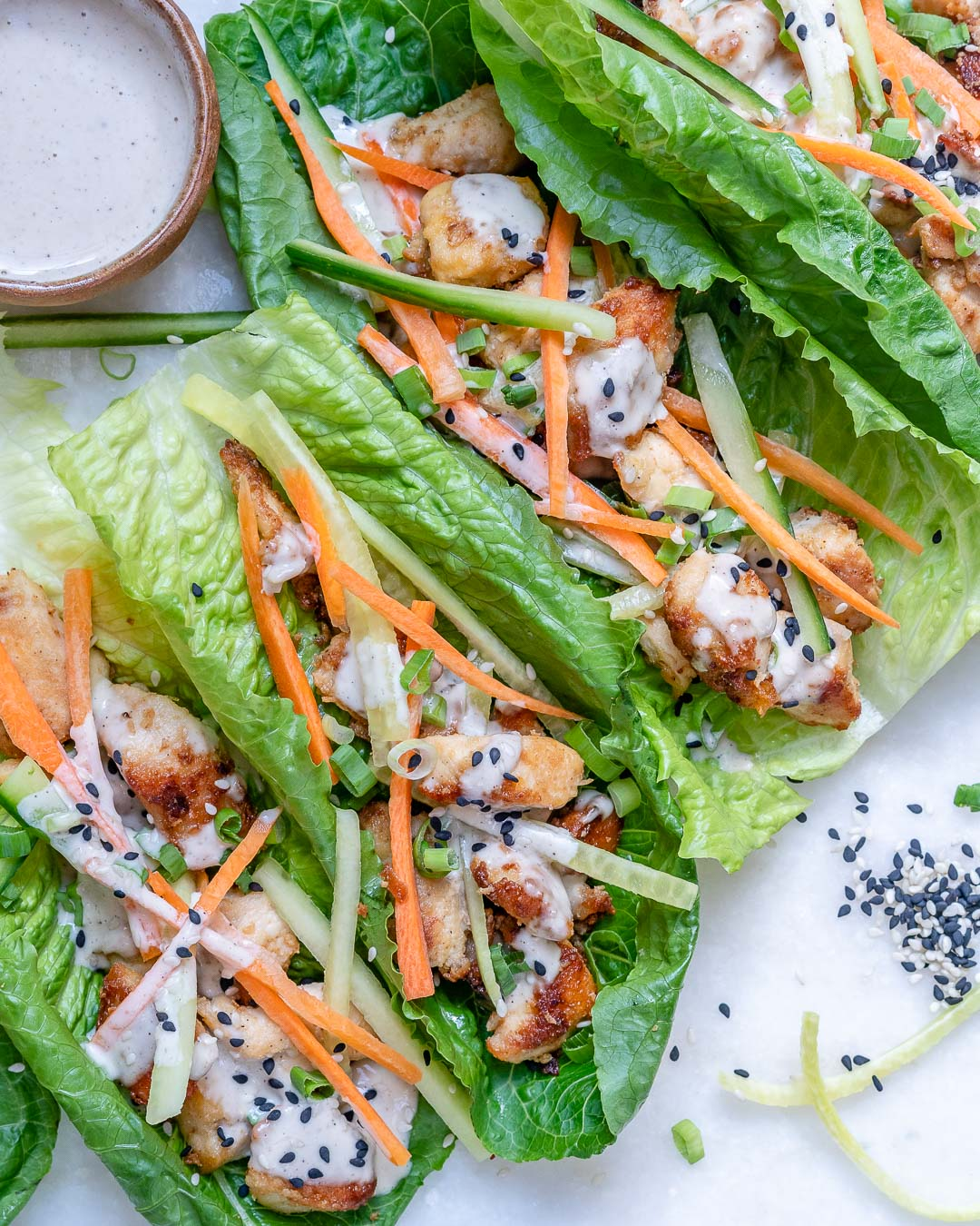 Healthy Chicken Lettuce Wraps With Tahini Sauce (Paleo/Whole30) 1