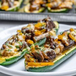 Philly Cheese Steak Zucchini Boats (Keto Recipe)-13