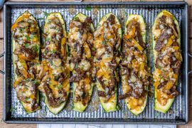 Philly Cheese Steak Zucchini Boats (Keto Recipe)-15