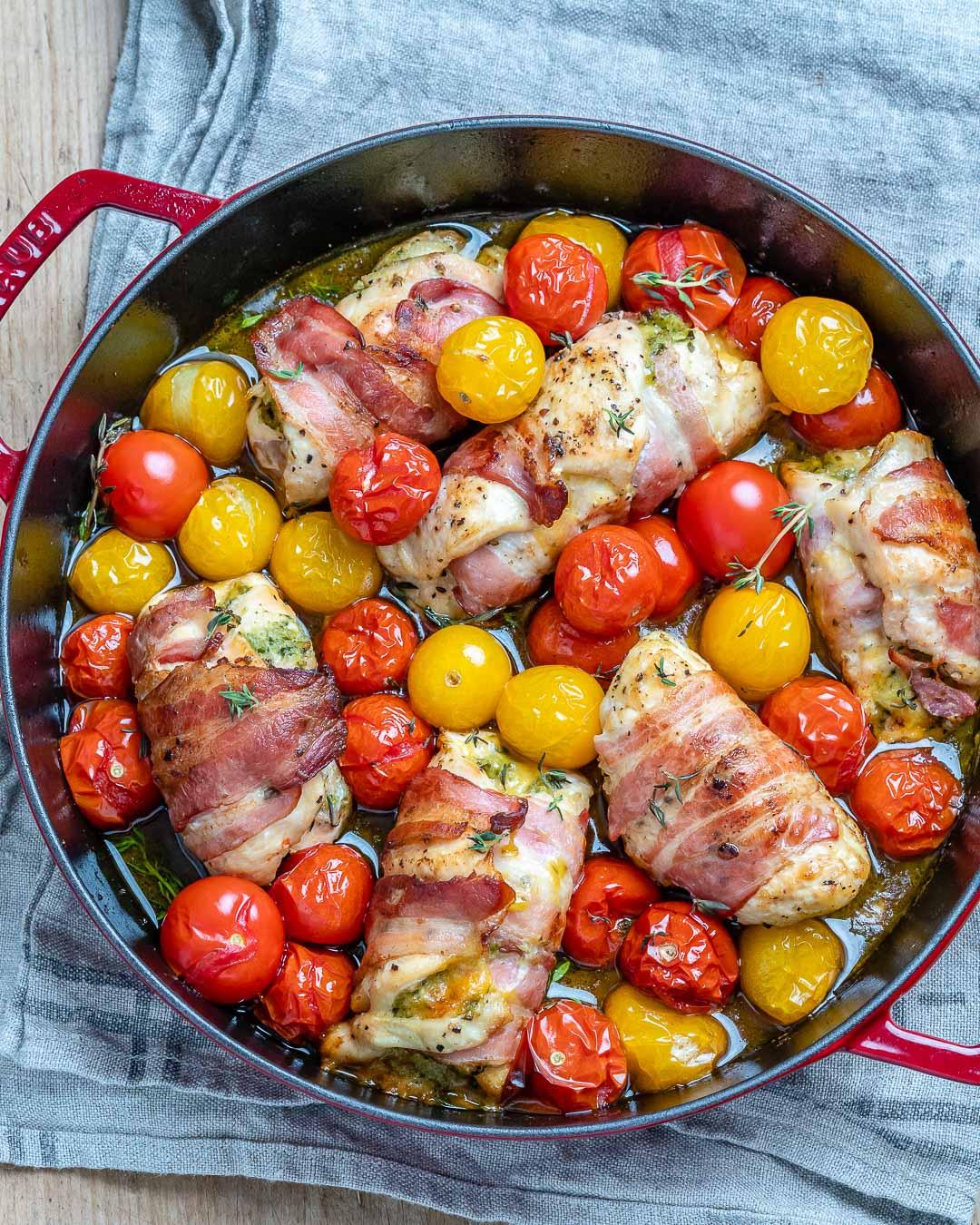 Bacon wrapped chicken roll-ups - Easy Chicken Pesto Roll Ups Recipe-11